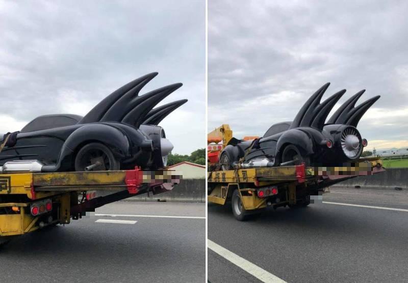 監察委員葉宜津在臉書上分享,於嘉義返回台南的高速公路上竟然看見一台「蝙蝠車」被載走,葉宜津透露,懂車的朋友認為這台有可能就是台灣知名男星周杰倫的,但她無法完全確定,只能用推測的。(圖取自葉宜津臉書,本報合成)