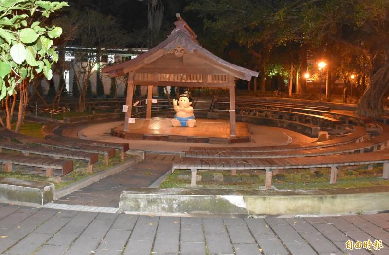 大溪中正公園的相撲亭,也是全台首座戶外相撲亭。(記者李容萍攝)
