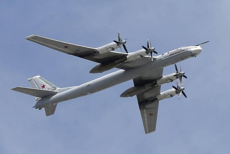 俄國Tu-95MS熊式轟炸機近期在俄國遠東地區進行演訓,完成空中加油並發射數枚Kh-101巡弋飛彈打擊地面目標,圖為俄國Tu-95MS轟炸機。(歐新社)