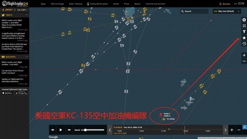 共機進入西南空域時,美國空軍KC135加油機,正由南海經巴士海峽編隊返回嘉手納基地。(記者蔡宗憲翻攝)