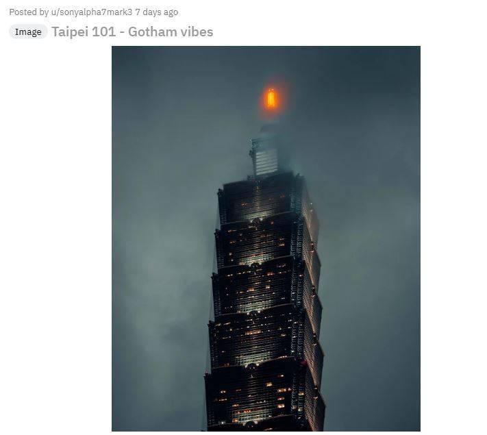 外國網友拍攝的101神秘詭譎,宛如置身美國犯罪戲劇電視劇《萬惡高譚市》裡的場景。(圖擷取自Reddit論壇)