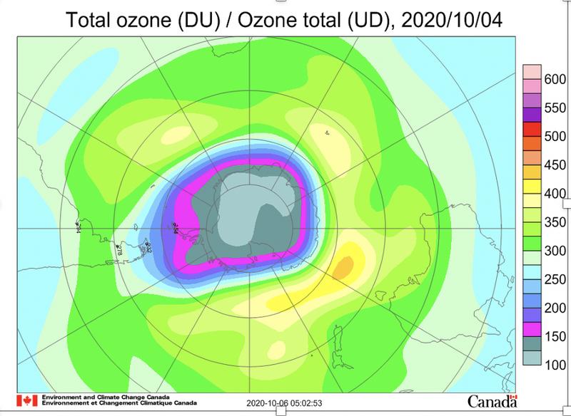 世界氣象組織表示,10月初出現在南極的臭氧層破洞是近年來最大且最深的。(圖取自世界氣象組織)