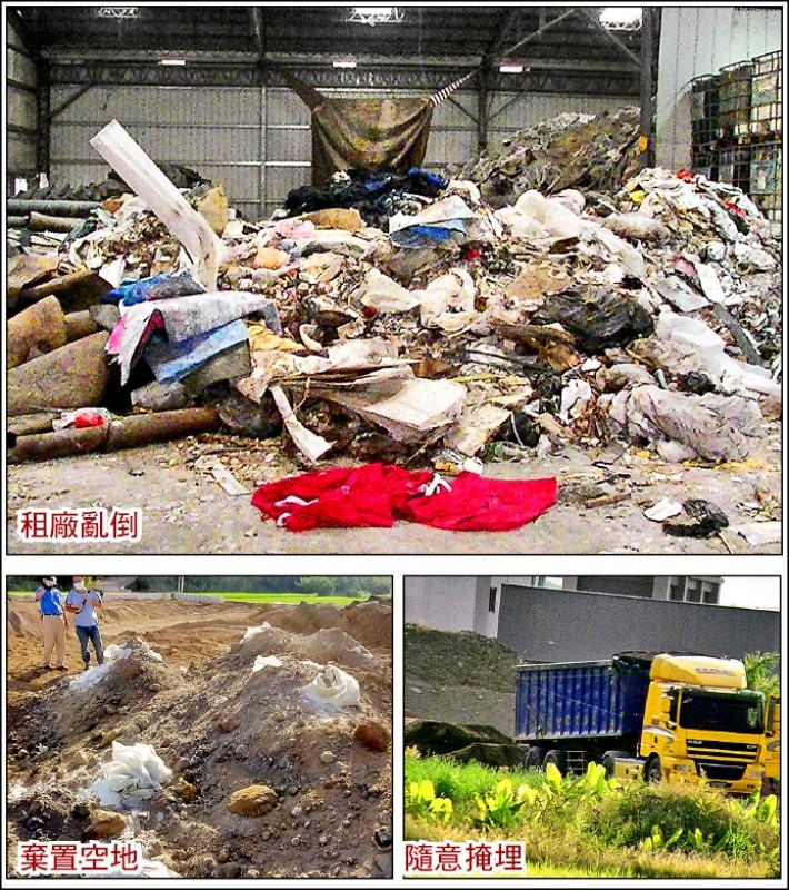 環保蟑螂受委託處理事業廢棄物棄置中彰投等地空地與廠房,還將玻璃纖維等事業廢棄物隨意掩埋。 (彰化地檢署提供)