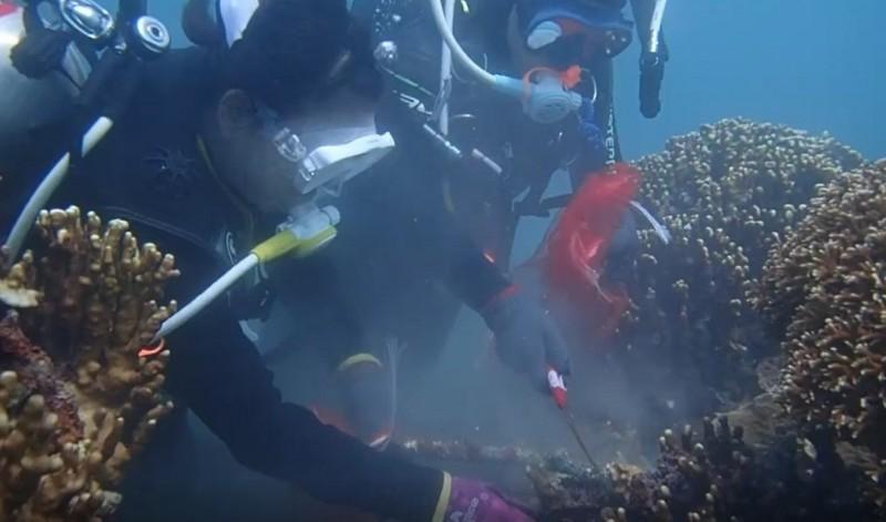 潛水戰將聯合捕破百公斤海中隱形殺手。(記者陳賢翻義攝)