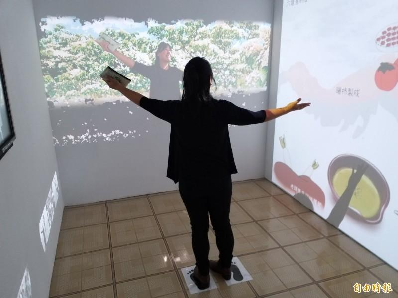 北埔鄉鄧南光影像紀念館常設展分五大展區,更新添互動體驗的AR科技,設計有趣的互動牆,讓觀眾拍照打卡留念!(記者廖雪茹攝)