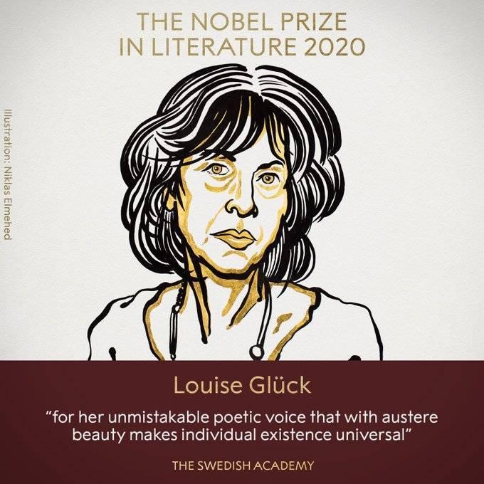 2020年諾貝爾文學獎得主今(8)日揭曉,頒給美國女詩人葛綠珂。(圖取自諾貝爾獎推特)
