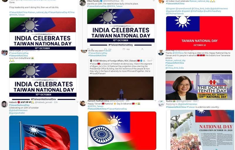 有印度網友PO出台灣國旗,或將台灣、印度PS在一起象徵兩國友好,揚言在台灣國慶日當天配上標籤#TaiwanNationalDay(台灣國慶日),將相關照片貼滿推特,更有人喊:「如果高層不做這件事,我們就自己來!」(擷取自推特,合成圖)