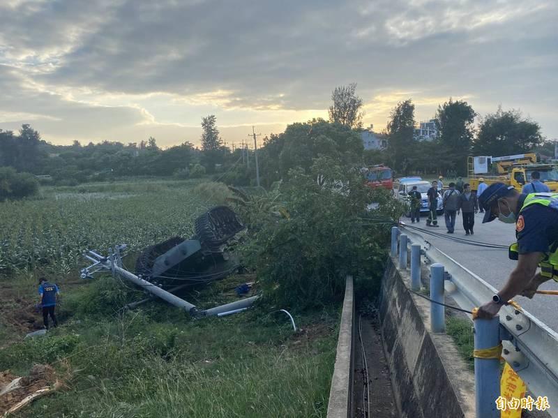 烈嶼鄉今日發生1起M41A3戰車翻覆事故。(記者吳正庭攝)