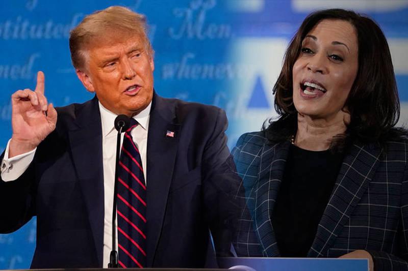 美國總統川普8日以電話接受電視訪問時,批評民主黨副總統候選人賀錦麗在辯論的表現是「共產主義者」和「怪物」。(本報合成)