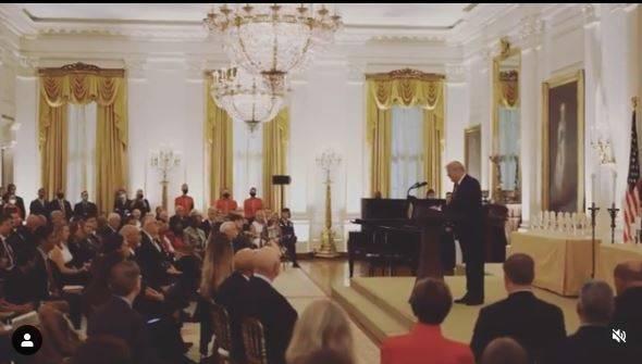 美國總統川普在金星家庭日致詞。(圖翻攝自白宮IG)