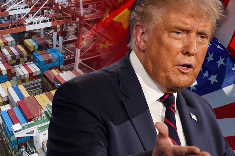 美國總統川普說,如果自己連任總統,就要再次向中國加徵關稅。(本報合成)