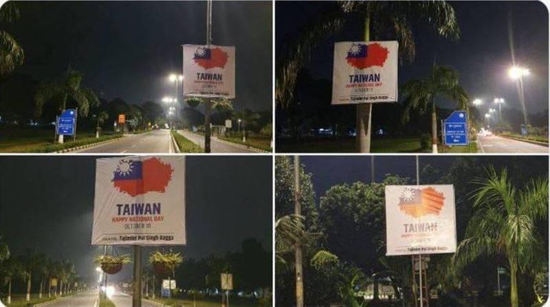 印度人民黨德里黨部發言人巴加9日深夜在中國駐印度大使館外張貼祝賀台灣「國慶日快樂」海報。(圖擷取自推特)