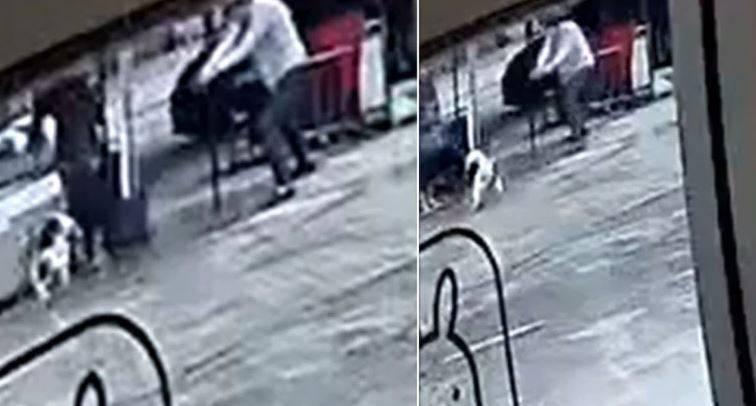 泰國男子在街頭餵狗被咬,一氣之下槍殺狗狗的監視器錄像曝光後,在當地造成輿論沸騰。(圖擷取自《泰國頭條新聞》微博)