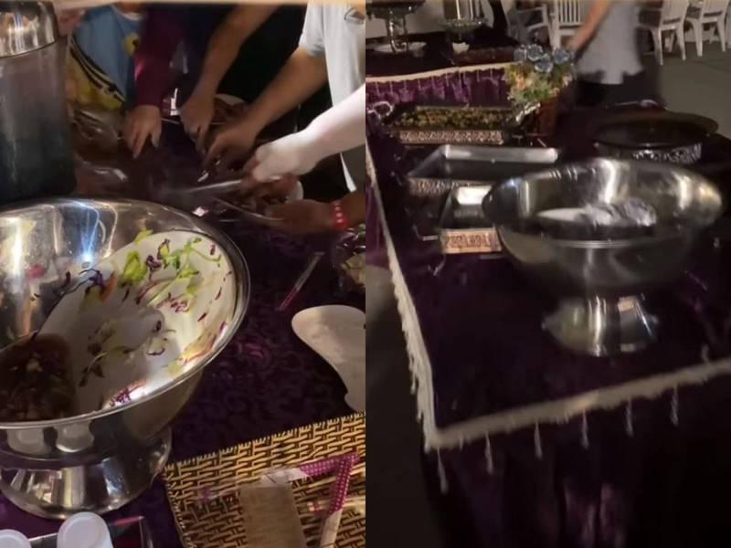 一名網友昨日預訂「煙火饗宴」,到現場卻看見搶食現象,餐點區空空如也。(圖擷自爆廢公社)