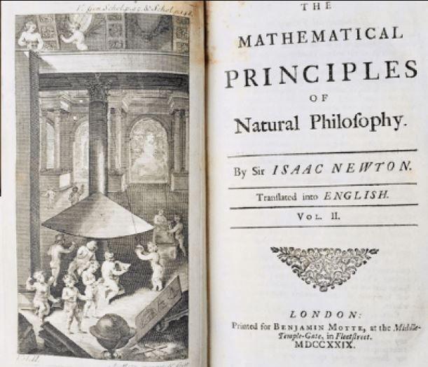 1本1729年印刷的《自然哲學的數學原理》英文版初版,13日透過英國漢森斯拍賣行的線上拍賣會,以2.4萬英鎊高價售出。(圖擷取自漢森斯拍賣行)