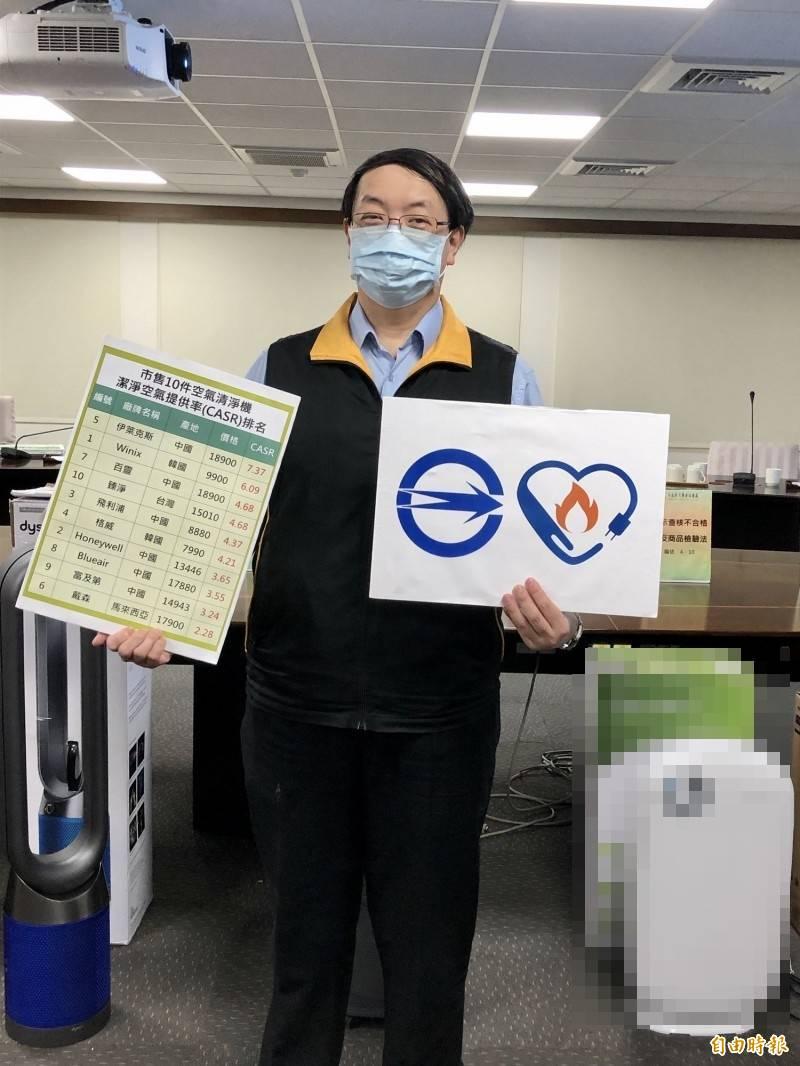 消保官提醒民眾,選購空氣清淨機時,應挑選有商品檢驗標識及節能標章的產品。(記者羅綺攝)