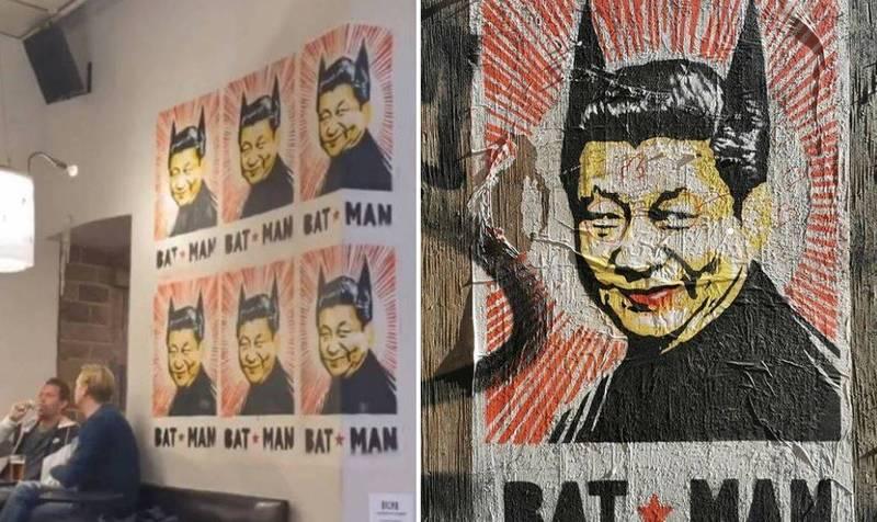 海報創作者「ironartworks」將中共領導人習近平畫成了擁有尖耳的蝙蝠俠來做嘲諷。(圖取自「Bryanboy」IG、「ironartworks」IG,本報合成)