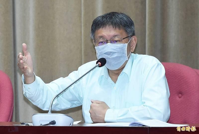 台北市長柯文哲今向北市議會國民黨團進行重大政策法案報告,國民黨議員紛要求柯文哲說明對萊豬的把關作為。(記者廖振輝攝)