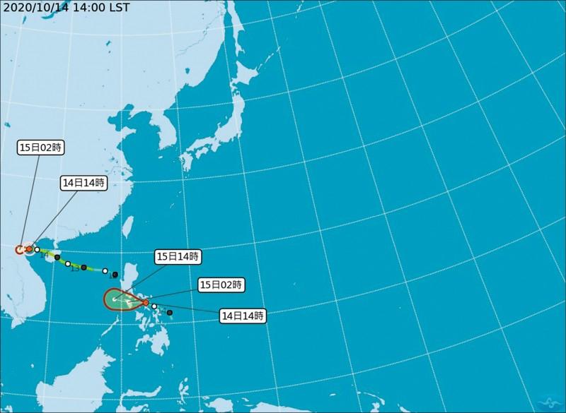 中央氣象局表示,位於菲律賓附近的熱帶性低氣壓預計週四下半天到週五有機會增強為輕度颱風沙德爾。(記者蕭玗欣翻攝)