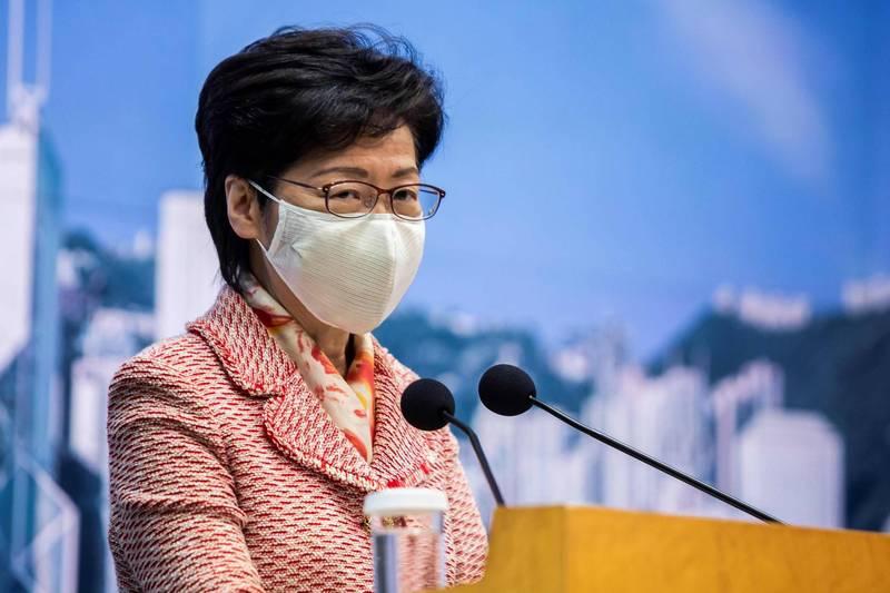 美國國務院14日向國會提交首份「香港自治法」報告,內容中列出包含香港特首林鄭月娥(見圖)在內的10名損害香港自治的官員,並警告金融機構勿與受制裁人士交易,否則可能會面臨嚴厲制裁。(法新社)
