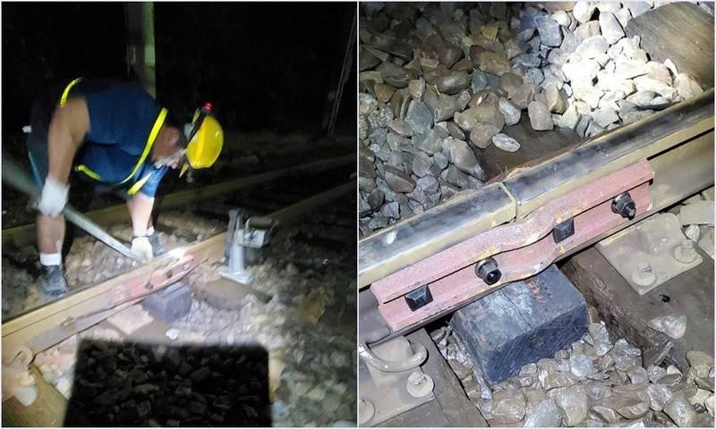 南澳火車站今晚發現魚尾鈑斷裂,工作人員漏夜搶修完成。(記者江志雄翻攝)