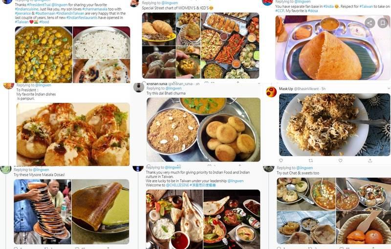 總統蔡英文連日在推特與印度網友互動,獲得熱烈迴響,蔡英文今日在推特PO出在她印度餐廳最愛點的菜色,並詢問大家最喜歡的印度菜是哪種?結果再度引發印度網友熱情回應。(擷取自推特)