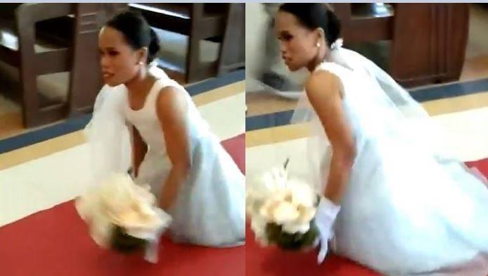 天生無腿的新娘蘿西近日與交往3年的男友步入禮堂,為了想和其他女孩一樣體驗走紅毯的感覺,她決定不靠輪椅,憑自己力量一步步緩慢「爬」完紅毯,場面讓眾人相當感動。(圖擷取自推特)
