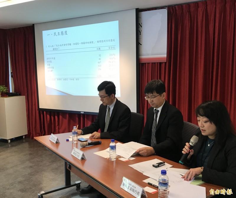 台灣民主基金會今針對「2020台灣民意價值與治理」為題發布民調,願意防衛台灣、為台而戰的受訪民眾比例創新高。(記者彭琬馨攝)