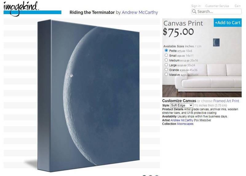 有趣的是,麥卡錫也推出這張稀有照片印在帆布上製成的藝術品,其中尺寸最小的要價75美金(約新台幣2千1百元),最大的則要價450美金(約新台幣1萬3千元)。(圖取自網站)