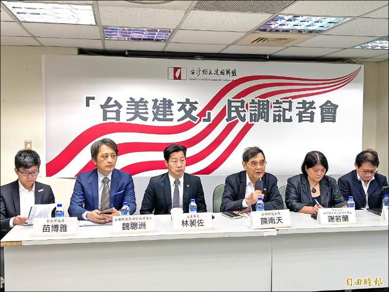 台灣安保協會與台灣獨立建國聯盟昨(17)日舉辦「台美建交」民調記者會,82.5%的民眾支持台美建交,僅8.9%不贊成建交、8.6%未表態。出席記者會的無黨籍立委林昶佐說,外交部應以此為努力的方向。(記者鍾麗華攝)