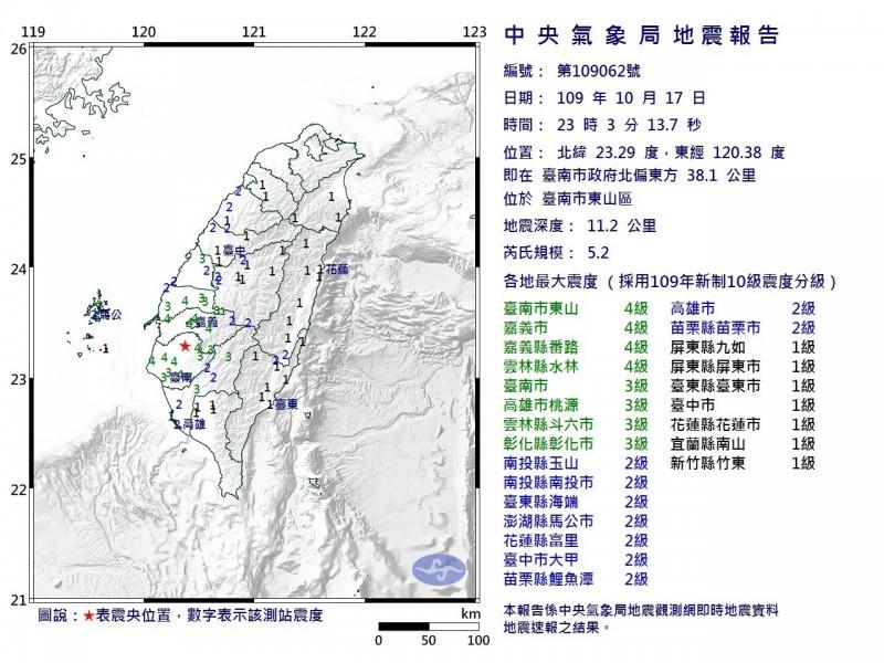 嘉南地區今晚接連發生3起地震。(中央氣象局提供)