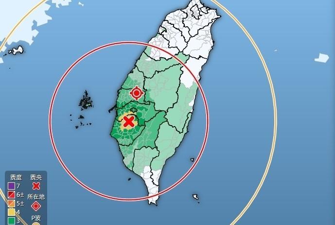 地震震央在台南市、規模5.2,雲林最大震度4級。(記者林國賢翻攝)