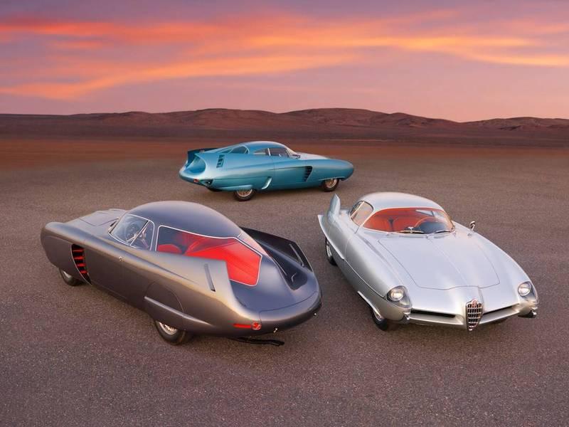 愛快羅密歐1950年代展出的3輛未來概念車,將在10月28日於美國紐約整批拍賣,估價最高可達到2000萬美元(約新台幣5.75億元)。(圖擷自RM Sotheby's網站)