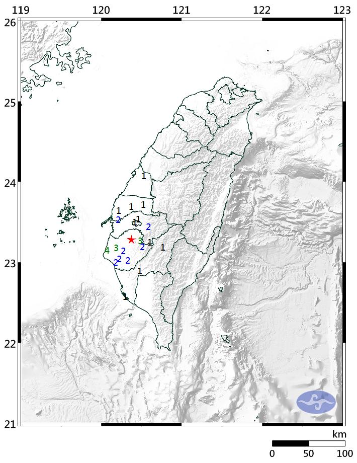 今日晚間8時07分左右南部地區發生芮氏規模4.2的有感地震,雲林、嘉義、台南皆有感,其中台南七股最大震度為4級。(圖擷取自中央氣象局)