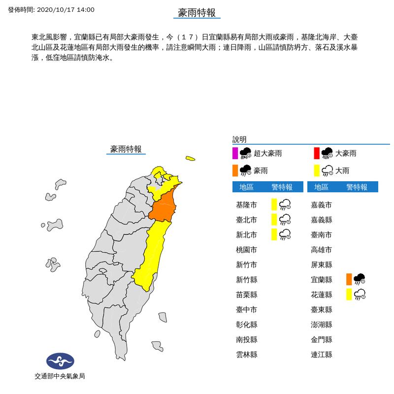 氣象局下午2時對台北市、新北市、基隆市及花蓮縣持續發布大雨特報;對宜蘭縣發布豪雨特報。(擷取自中央氣象局)