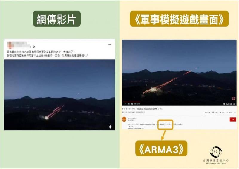 網路一則影片宣稱為亞塞拜然戰機與亞美尼亞交火影片,經查證後發現與日本網紅上傳的電玩遊戲高度相似。(圖片擷取自TFC台灣事實查核中心)