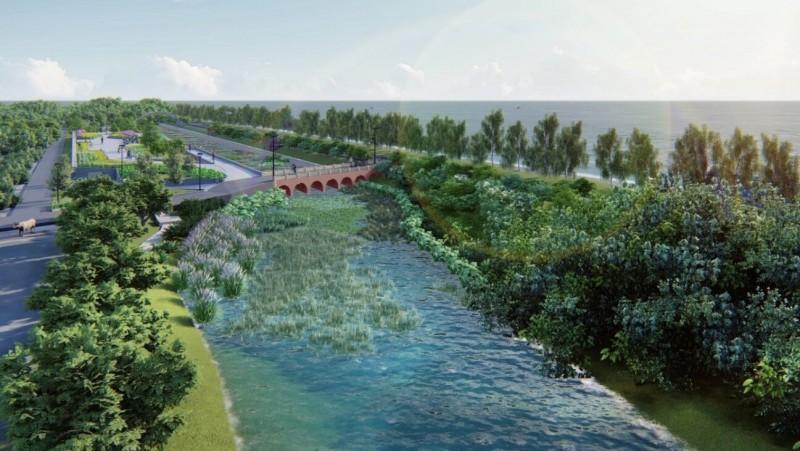 竹市港南運河水質淨化工程完工示意圖。(市府提供)