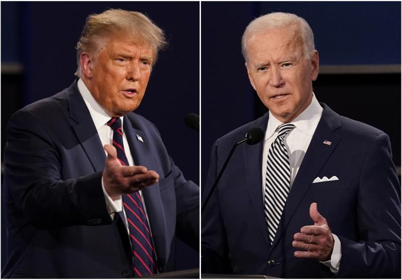 川普(左)和拜登(右)將在22日公開辯論,但主持人被發現與民主黨關係深厚。(美聯社)