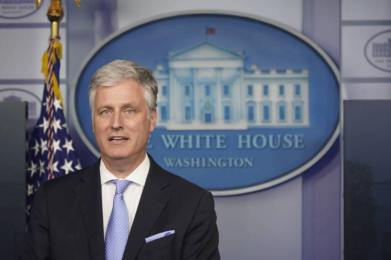 南韓青瓦台透露美國國家安全顧問歐布萊恩將於下個月拜訪南韓的消息。(彭博)