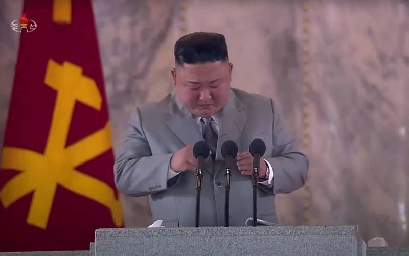 金正恩在黨慶閱兵演說上落淚。(法新社)