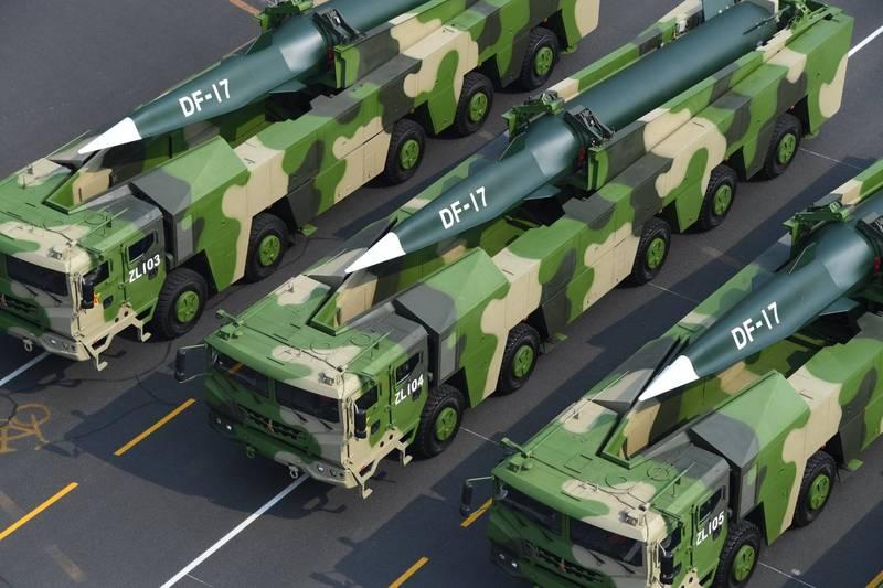 中國北京軍事消息人士透露,解放軍已在東南沿海飛彈基地部署了最先進的高超音速飛彈東風-17,目標直指台灣。東風-17飛彈示意圖。(歐新社)
