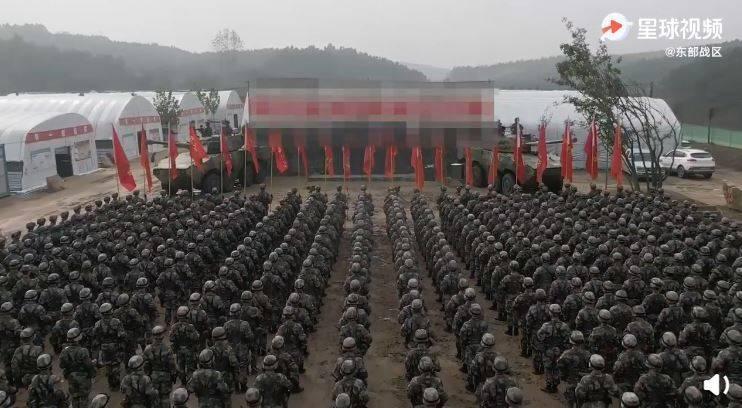 影片中出現莫名馬賽克,引發中國網友不滿。(圖取自共軍東部戰區微博)