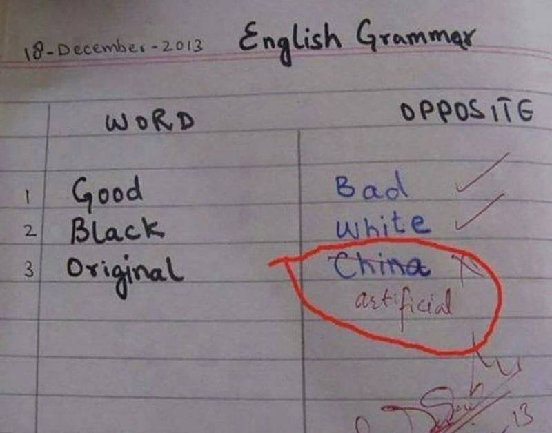 推特上一張照片引發網友熱議,只見國外學生英文作業中的一頁,要求寫上指定單字的反意詞,而學生在「Original(原作)」的反意詞竟填上「中國」,暗指中國山寨抄襲盛行,讓不少印度網友笑翻。(擷取自Susanta Nanda推特)