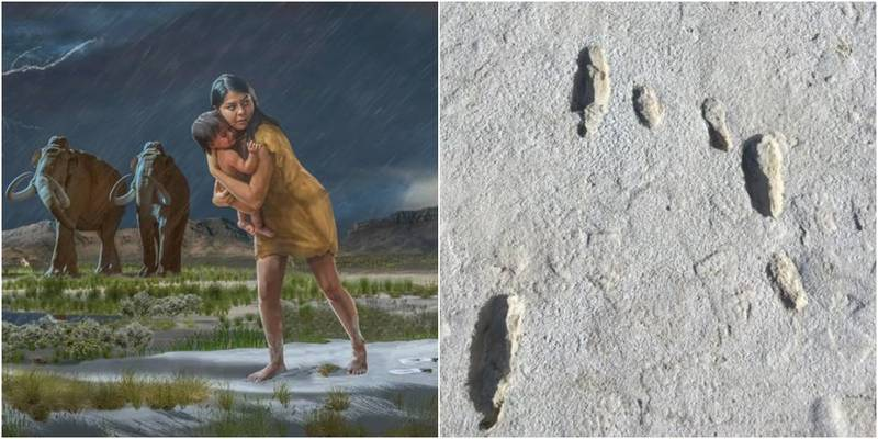 美國新墨西哥州白沙國家公園考古研究,最新發現1萬年前的冰河時代母子足跡。(圖取自美國白沙國家公園)