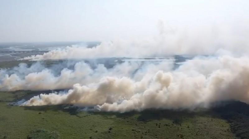 濁水溪河床野火持續燃燒。(讀者提供)