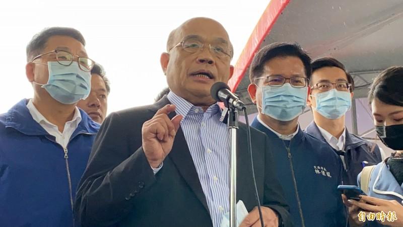 行政院長蘇貞昌針對被藍委欲倒閣一事,做出回應。(記者蔡昀容攝)