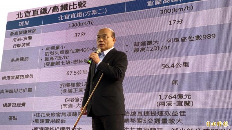 行政院長蘇貞昌表示,北宜高鐵、直鐵案有待專案併同考量,他樂觀其成。(記者蔡昀容攝)