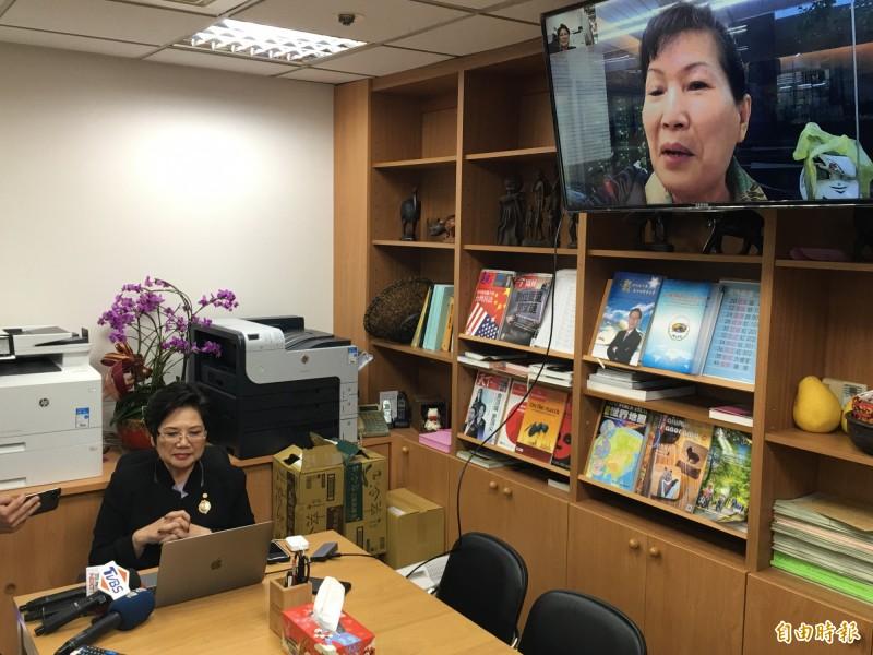 國民黨立委溫玉霞與斐濟台商視訊,還原10月8日國慶晚會情況。(記者林良昇攝)