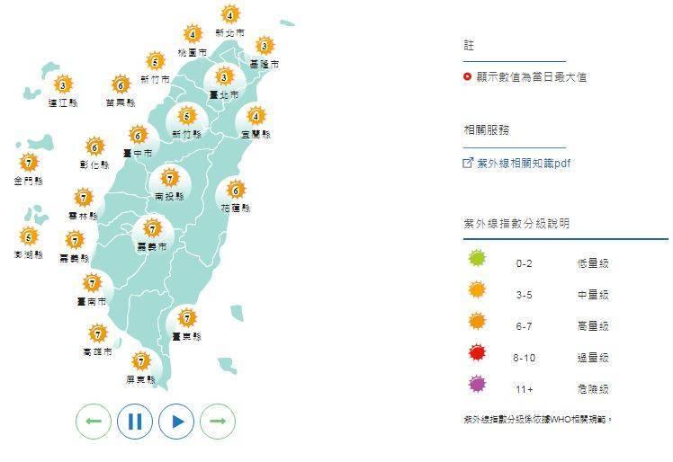 明日紫外線預報,各地區均為「中量級」至「高量級」。(圖擷取自中央氣象局)