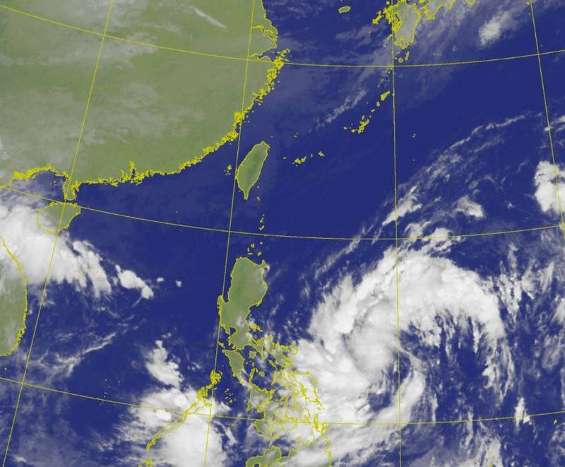 目前位於菲律賓東方海面的熱帶性低氣壓持續發展,有機會增強為今年第17號颱風「沙德爾」。(圖擷自中央氣象局)